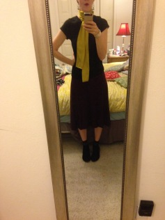 Self drafted knit skirt, handmade scarf